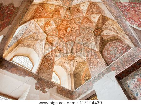 Interior Of Historical Hasht Behesht Palace In Iran.
