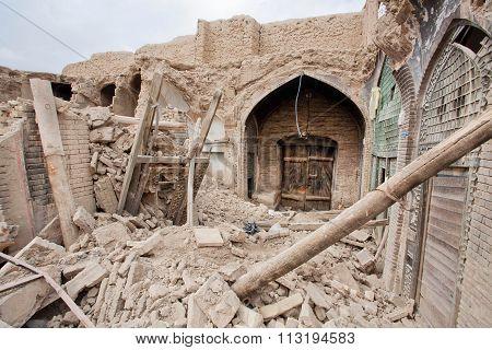 Broken Buildings Of The Old Persian Bazaar In Iran.