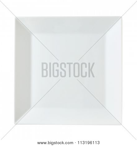 Square white porcelain dinner plate with rim