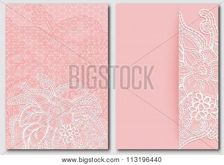 Set Lacy Pink Backgrounds. Templates For Design Of Cards, Invitations And Save The Date