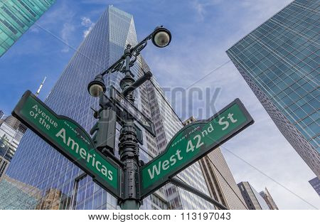 Street Sign At An Intersection In New York City