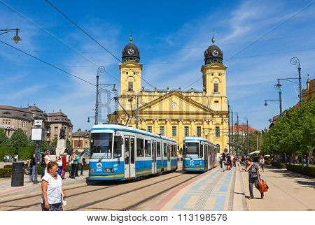 Kossuth Square And Protestant Great Church In Debrecen, Hungary