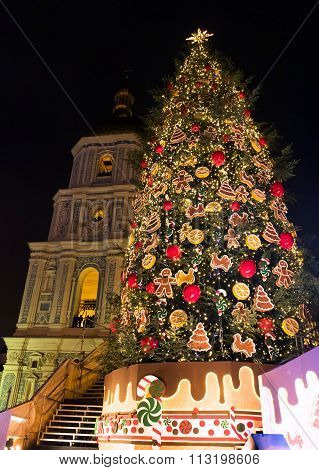 New Year Tree On Sophia Square In Kyiv, Ukraine