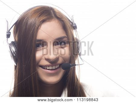 Female support operator with headset
