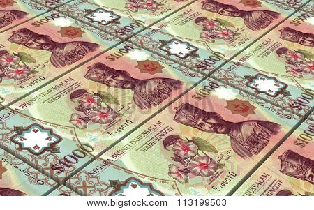 Brunei dollar bills stacks background. Computer generated 3D photo rendering.