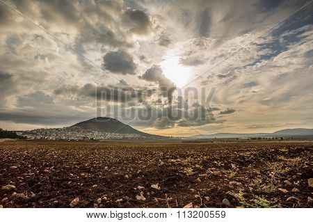 Tabor Mountain And Jezreel Valley In Galilee, Israel