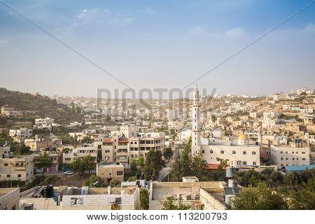 Regular Palestine Town Approaching Hebron, West Bank