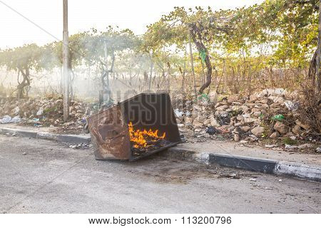 Burning Trash Bin After Riots In Hebron, Palestine