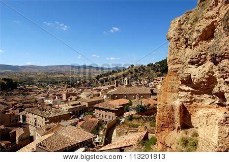 Overview Of Darona, Zaragoza Province, Aragon, Spain