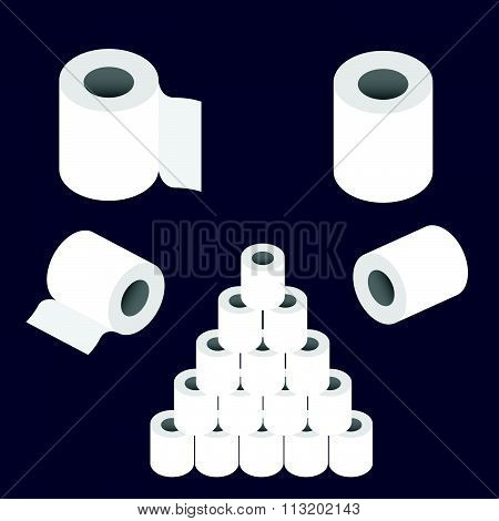 Toilet Paper Roll Set Vector