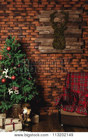 Family celebration of the New Year. Christmas tree. Empty chair. Giving gifts. Holiday and fun.