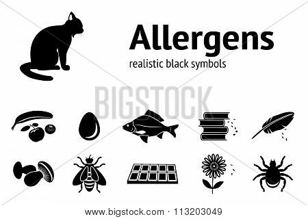 Allergen set. Fish, cat, insect, chocolate, mushroom, dust, bee, apple, banana, mandarin, hackle, ed