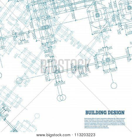 Building design background. Blue pile caps plan silhouette on white. Vector illustration.