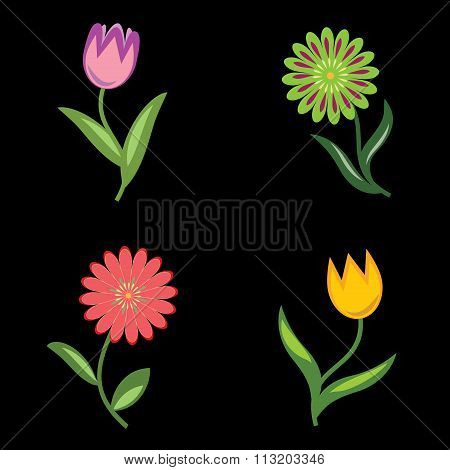 Flower icons set.  Chamomile, tulip. Floral symbols with leaves. Yellow, lilac, pink, orange, green