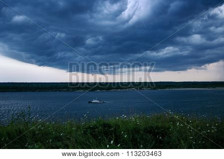 tug boat going by during angry weather