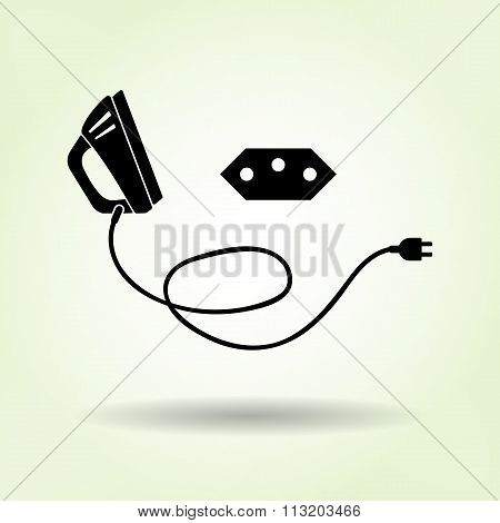 Iron, two-pin plug, Brazilian socket base icon. Black sign with shadow on light green. Electric appl