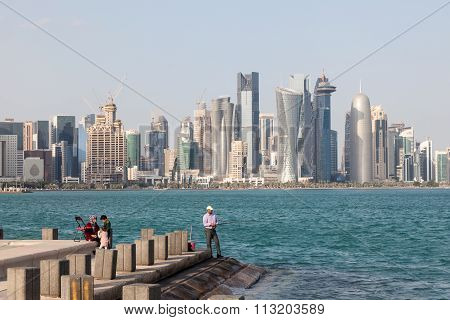 Hobby Fisherman At The Doha Corniche, Qatar