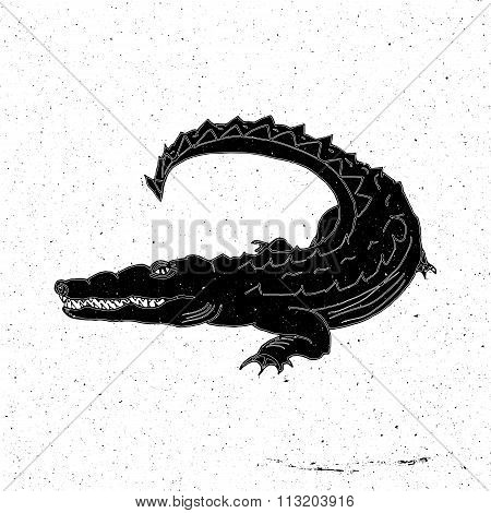 Hand drawn crocodile