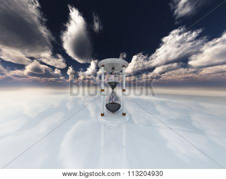Hourglass in white landscape