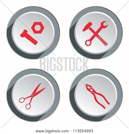 Hammer, cogwheel, pliers, scissors, bolt nut icon set. Repair fix tool symbol. Round gray button wit