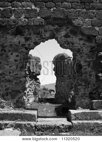 Black and white photograph of ruins of monastery