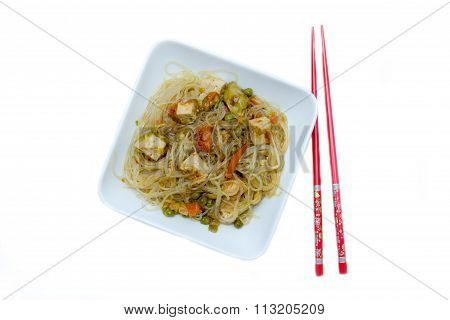 Bean vermicelli with vegetables from above