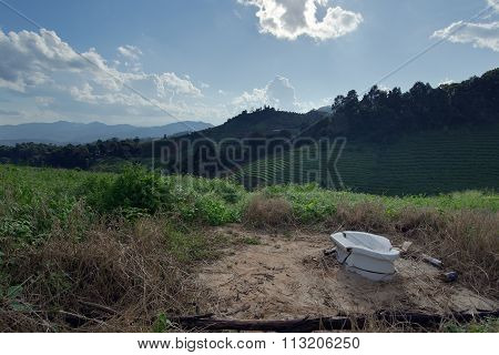 Water Closet (personal Toilet) At The Top Of Mountain In Chiangmai Thailand