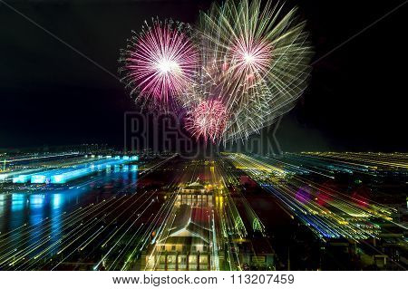 Zoom in with fireworks