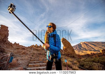 Female traveler in Teide park
