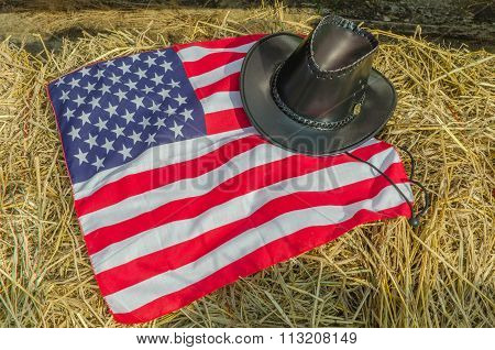 American flag and Cowboy hats