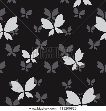 Vector Seamless Pattern With Gray Butterfly On Black Background. Wallpaper