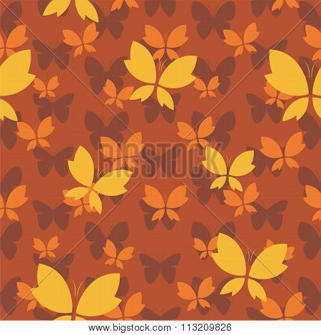 Vector Seamless Pattern With Butterfly On Brown Background. Wallpaper
