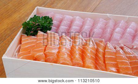 Japanese fresh sashimi (salmon and fatty tuna)