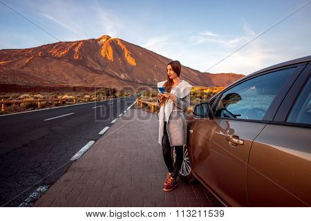 Woman traveling by car on Tenerife