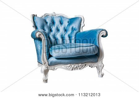 Blue Armchair Isolated On The White Background