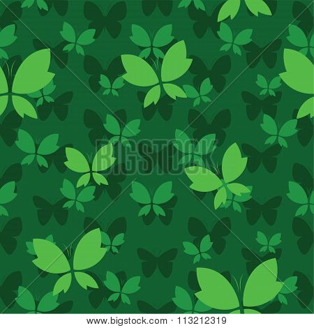 Vector Seamless Pattern With Butterfly On Dark Green Background. Wallpaper