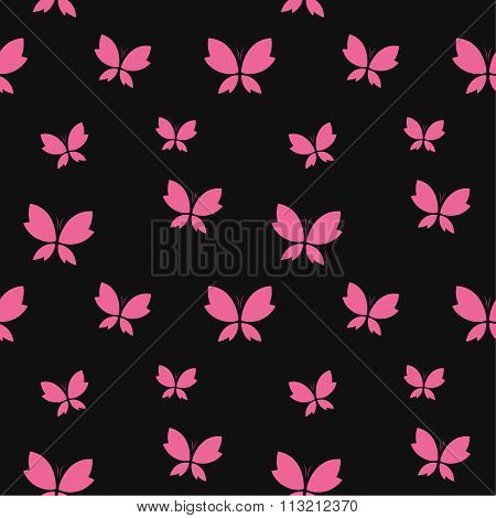 Vector Seamless Pattern With Pink Butterfly On Black Background. Wallpaper