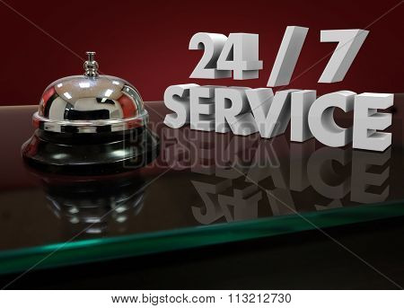 24 7 Service Numbers in 3d Characters on a front desk or counter for help or assistance that is open all night and every day