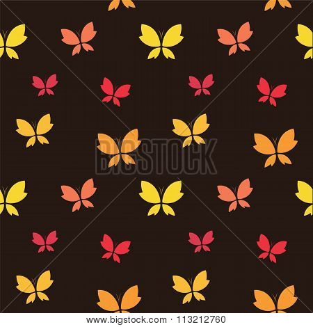 Vector Seamless Pattern With Butterfly On Dark Brown Background. Wallpaper