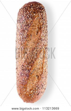 Loaf Of Crusty Wholegrain Bread With Seeds