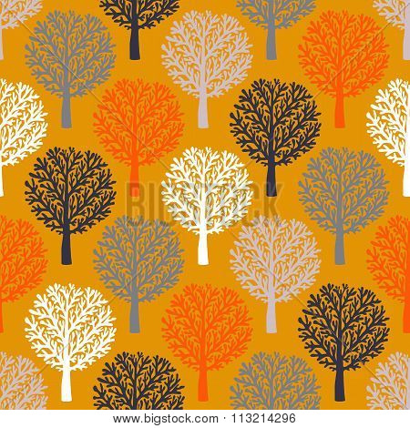 Vector seamless pattern with trees silhouettes and leafs in brown, re, white colors for fall winter fashion or Christmas wrapping paper. Chic, elegant, natural print with woods. Retro style .