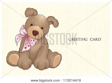 Vector Cute Teddy Bear Greeting Card