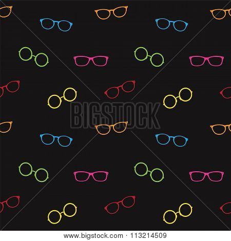 Glasses Vector Art Background Design For Fabric And Decor. Seamless Pattern