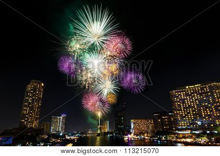 New Year Fireworks Over Chaopraya River In Bangkok Thailand