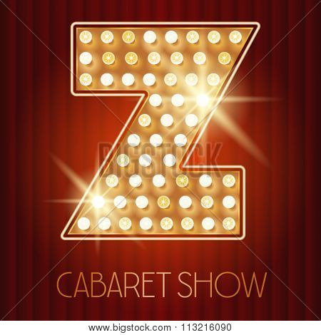 Vector shiny gold lamp alphabet in cabaret show style. Letter Z