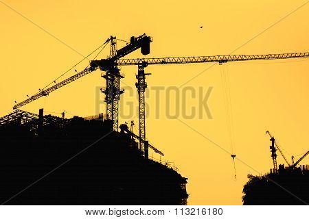 Construction Cranes & Buildings Silhouette
