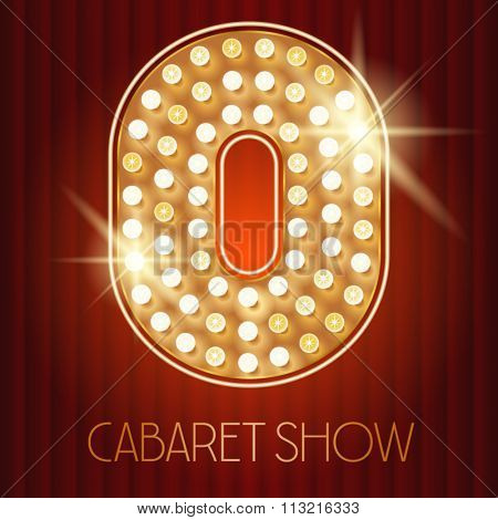 Vector shiny gold lamp alphabet in cabaret show style. Number 0