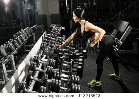 sexy woman doing workout with dumbbells  in gym. exercise for the back and triceps