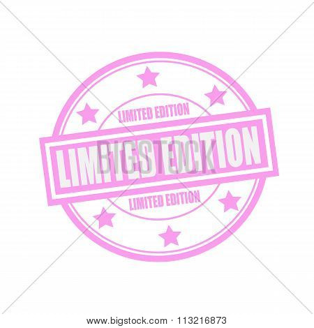 Limited Edition White Stamp Text On Circle On Pink Background And Star