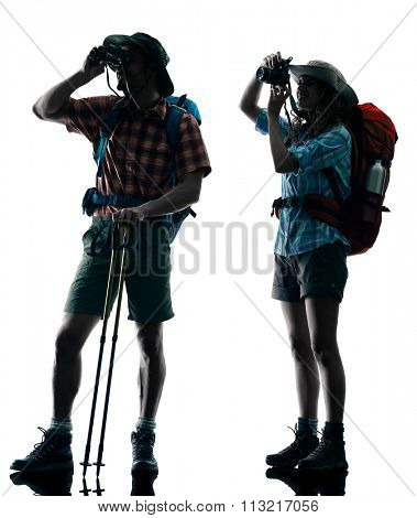 couple trekker silhouette Photographing